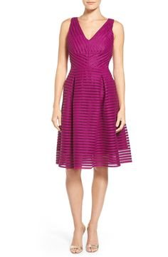 Free shipping and returns on Ivanka Trump Mesh Stripe Scuba Knit V-Neck Fit & Flare Dress at Nordstrom.com. Honeycomb mesh stripes lighten the dense scuba-knit fabrication of a modern take on a classic fit-and-flare silhouette. Angled panels, precise seams and lush pleats create an especially flattering frock.