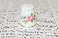 Vintage Porcelain Floral Thimble by ladyivyvintage on Etsy, $9.00