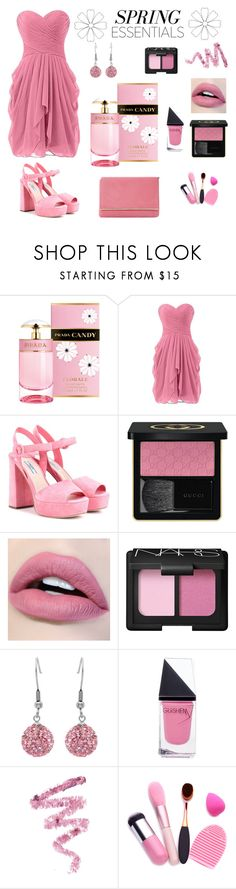 """""""Spring Pink"""" by siriusfunbysheila1954 ❤ liked on Polyvore featuring beauty, Prada, Gucci, NARS Cosmetics, Amanda Rose Collection, GUiSHEM, Cynthia Rowley and Dune"""