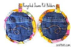 Recycle an old pair of jeans into handy pocket pot holders! Fun and easy sewing project.
