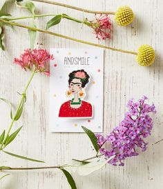 Frida Kahlo is wearing flowers a red blouse, will look great on your dress, jacket, cardigan or a bag! Perfect gift for a Frida fan or a feminist.