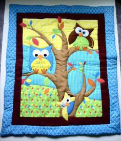 Owl Baby Blanket Quilt  Owls in Tree and Flannel Minky Patchwork Back. Nursery bedding. $130.00, via Etsy.