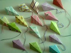 ~A Crafty Conch: 'Go Fly a Kite' ~ Celebratory Origami Kite Cupcake Toppers Origami Kite, Kids Origami, Origami And Kirigami, How To Make Origami, Origami Easy, Origami Paper, Easy Crafts For Kids, Craft Activities For Kids, Craft Ideas