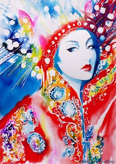 Oriental Headdress Fashion Illustration Art by KimberlyGodfrey