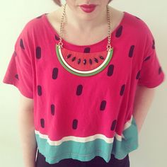 How's this for fruity summer style? Emily teams her S/S12 Watermelon Necklace with a Lazy Oaf Watermelon tee.