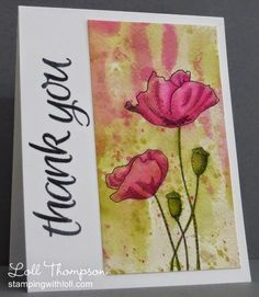 Hi everyone.  Sharing another watercoloured card ... this one was sent to my friend Ingrid (Ingrid's Crafts Corner).  I know she likes pink ... I hope she likes bright pink :) She has already received