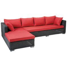 Canapé d'angle de jardin 4 places en résine tressée noire cendre