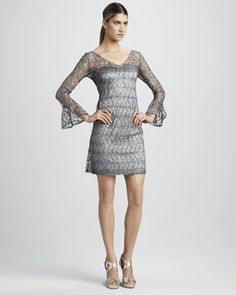 Sequined Bell-Sleeve Cocktail Dress by #KayUnger New York.