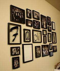 """Picture wall, use command strips ( in black) to hang frames. love the idea of """"family"""" in frames too"""