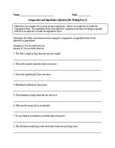 Comparative and Superlative Adjectives Practice Worksheet