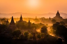Dusty sunset over Bagan