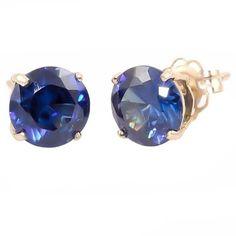 Kaye: 10mm created Sapphire 14K Yellow Gold Cast Basket Stud Earrings