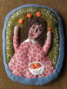 Елена Пинталь Hens, Fiber Art, Textiles, Christmas Ornaments, Holiday Decor, Brooches, Teeth, Stitches, Angels