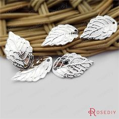 (30396)30PCS 17*10MM Silver color plated Brass Tree leaf leaves Charms Diy Jewelry Findings Jewelry Accessories wholesale