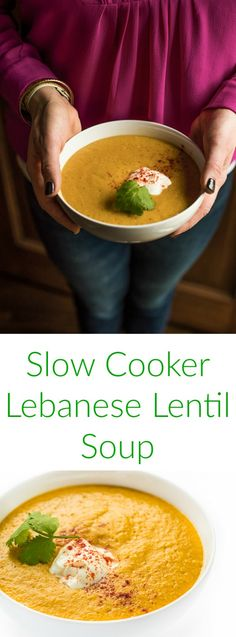 This authentic vegetarian Lebanese soup recipe made with red lentils and vegetables is seasoned with cumin and turmeric.