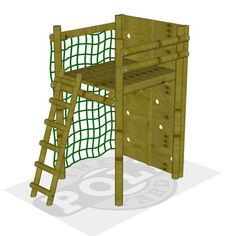 The Dassie jungle gym covers a 1.5m x 2.1m area, and includes a cargo net, climbing wall & ladder.
