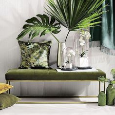 Green decor Crate and Barrel ( Living Room Green, Living Room Decor, Modern Interior Design, Modern Decor, Modern Entryway, Piece A Vivre, Tropical Decor, Home And Deco, Home Decor Accessories