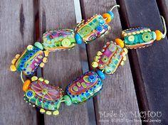 Funky Venus Flytrap Art Glass Set by Michou P. by michoudesign