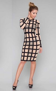 6767f15980c Colorblock Plaid Sexy See Through Bodycon Midi Dress Classy Outfits For  Women