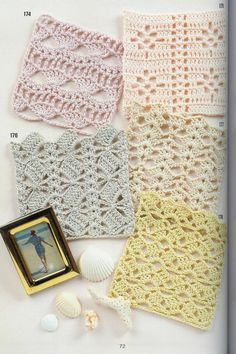 A selection of four beautiful openwork patterns to crochet. Schemes of knitting crochet patterns Filet Crochet, Crochet Motifs, Crochet Diagram, Crochet Stitches Patterns, Crochet Squares, Crochet Chart, Chevron Crochet, Love Crochet, Knit Crochet