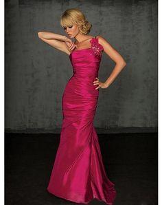 Trumpet Mermaid One Shoulder Hand-Made Flower Sleeveless Floor-length Taffeta Prom Dresses Evening Dresses