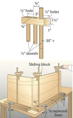 """When building cases, I often find that nature did not provide me with enough hands, so I made my own """"wooden fingers."""" These fingers slide down a long dowel that's anchored in a scrapwood base to steady large wooden panels for glue-up or joinery. And they leave the corners complet-ely unobstructed for driving screws or nails. —Ralph Roberts, Thompsonville, Mich."""