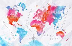 Akwarela Różowy Niebieski Mapa świata Cliparty, Ilustracje Stockowe Oraz Ilustracje Wektorowe Royalty Free. Image 32357380.