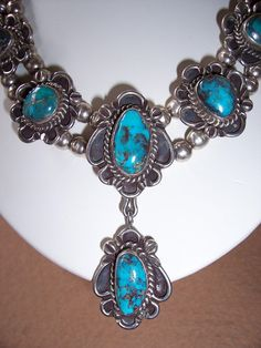 Vintage 1970's Navajo Native American Indian Sterling Silver Turquoise Necklace
