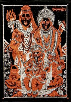 Shiva, Parvati and Ganesha - (Rust and Silver Glitter Painting) (Painting on Velvet Cloth - Unframed))
