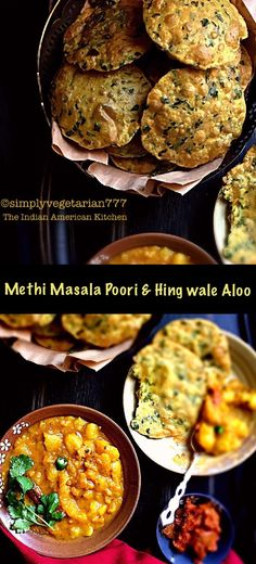 Methi Masala Poori & Hing Wale Aloo is the perfect meal from Northern States of India. This combination can warm up your heart in winters. It is simply finger licking delicious. Indian Desserts, Indian Snacks, Indian Dishes, Indian Food Recipes, Paneer Dishes, Veg Dishes, Easy Cooking, Cooking Recipes, Methi Recipes
