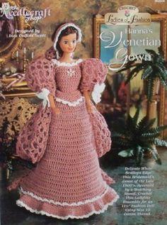 Needlecraft Shop Ladies of Fashion Crochet Doll Pattern Hanna's Venetian Gown