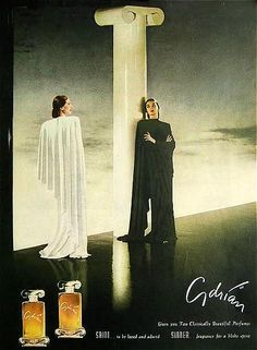 Dramatic 1945 MGM Designer Adrian's 'Saint' and 'Sinner' perfume ad Vintage Love, Vintage Ads, Perfume Adverts, Vanitas Vanitatum, Old Advertisements, Advertising, Saints And Sinners, Chanel Perfume, Cute Winter Outfits