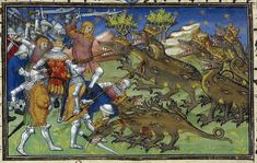 Detail of a miniature of Alexander the Great battling against two-headed, eight-legged, crowned dragons with multiple eyes along their torsos, Royal MS 20 B XX, f. 78v