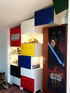 A LEGO-themed storage with display areas.