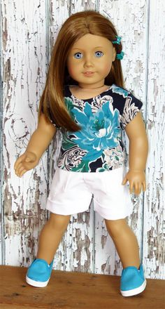 Trendy American Girl Doll Clothes by Silly Monkey - Turquoise and Navy Top and White Shorts, $15.99 (http://www.silly-monkey.com/products/turquoise-and-navy-top-and-white-shorts.html)