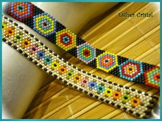 Peyote Stitch Patterns, Bead Loom Patterns, Beading Patterns, Bead Loom Bracelets, Woven Bracelets, Bead Crochet Rope, Beaded Jewelry Designs, Peyote Beading, Beaded Bracelets