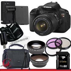 Canon EOS Rebel T4i Digital Camera with EF-S 18-55mm f/3.5-5.6 IS II Lens Package 3 by Canon. $859.23. Package Contents:  1- Canon EOS Rebel T4i Digital Camera with EF-S 18-55mm f/3.5-5.6 IS II Lens With all supplied accessories 1- 32GB SDHC Class 10 Memory Card 1- Rapid External Ac/Dc Charger Kit   1- USB Memory Card Reader  1- Rechargeable Lithium Ion Replacement Battery  1- Weather Resistant Carrying Case w/Strap  1- Pack of LCD Screen Protectors  1- Camera & Len...