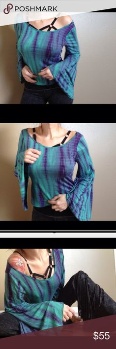 Free People Aubery Farms Bell Sleeved Top in Small Free People Aubery Farms Tie Dyed Bell Sleeved Crop Top, in Teal and Purple Combo-Only selling as long as I can pick one up again with the proceeds Free People Tops Tees - Long Sleeve