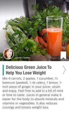 Delicious Green Juice To Help You Lose Weight - via @CureJoy