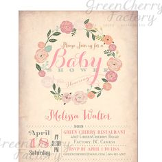 Baby Shower Invitation - Vintage Peach Background - Wreath Spring Summer Floral Mint Coral Pink Flower - Printable Invitation - No.435 on Etsy, $18.00