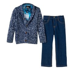 Toddler Boy Boys Rock Marled Sweater, Plaid Shirt & Jeans Set, Size: 2T, Blue