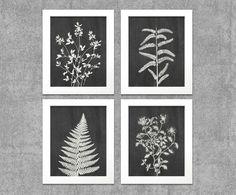 """Botanical Leaves & Florals Chalkboard Digital Printable Wall Art Print 8""""x10"""" Set (Jpeg Files) - INSTANT DOWNLOAD - V211"""