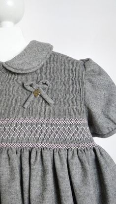 Griselda Smocking Woolen Dress 2 to 3 years Winter by annafabo