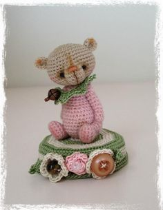 Looking for crocheting project inspiration? Check out Pink Peppermint Mini Thread Artist Bear  by member TheTinyToyBox.