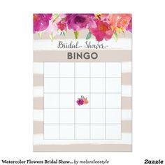 Watercolor Flowers Bridal Shower Bingo Card