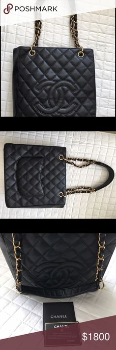 Chanel petite shopper tote, black quilt caviar Excellent, like new condition. Rarely ever used. CHANEL Bags