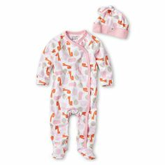 giggleBABY™ Footed Coveralls and Hat @JCPenney #newborn #baby