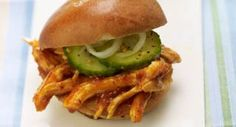 Carolina Pulled Chicken Sliders: A vinegar and mustard Carolina-style barbecue sauce moistens shredded grilled chicken for sliders. Serve with Easy Summertime Sweet Pickles for piquant crunch.