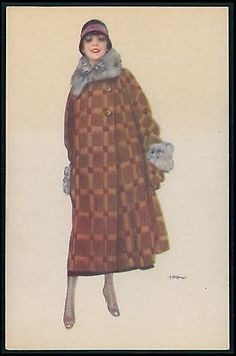 492 Art Deco signed Illustration Fashion Fantasy c1920s original old postcard • $8.00