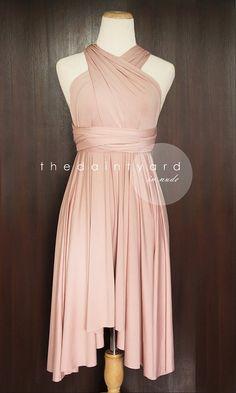 Nude Pink Bridesmaid Convertible Dress Infinity Dress Multiway Dress Wrap Dress Wedding Dress on Etsy, $34.00